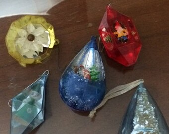 Vintage 1960's Christmas ornaments Sets of 5