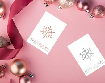 Printable Christmas Cards, Rose gold Digital Christmas Cards set  silver cards, Instant Download Christmas gold Christmas cards