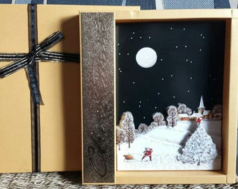 Handmade Glamourous Christmas Card in Gold Shimmer Gift Box.