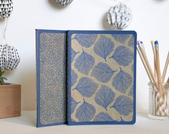 Notebook - sketchbook - leaves - blue - Beige