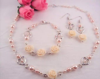 Pretty in Pink Pearl Jewelry, Pink Pearl and Ivory Rose Jewelry Set, Gift for Bestie, Prom Jewelry Set, June Birthstone Jewelry