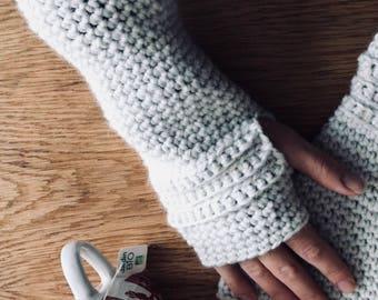 White crochet wool mittens hand