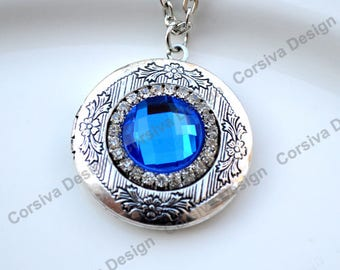 Silver Locket Round Faceted Blue Crystal Jewel with Rhinestones