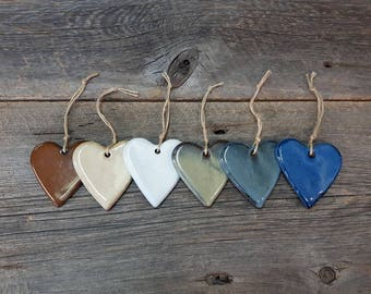 Heart ornament – Pottery little hanging heart, Wall decor, Ceramic, Stoneware, Handmade, Slab rolled