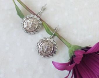 Nautical jewelry buttons, handmade earrings anchor, navy button earrings, silver earrings, gift for her, mother gift, wedding beach jewelry