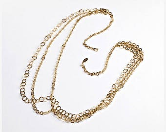 Solid brass multi-chain necklace, vintage gold 18 ct plated