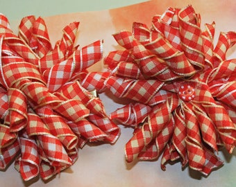 Set of red and white korker bows, infant girl toddler hair hows