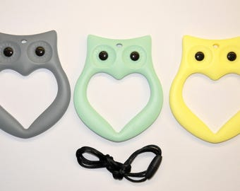 Baby teether toy owl Baby teething toys Silicone teether Owl toys