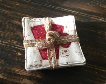 Adorable cat quilted burlap coasters