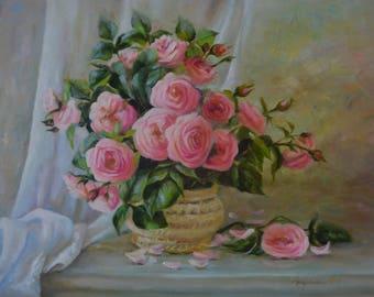 Tea rose, oil painting, flowers, roses,