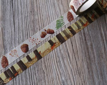 Fall washi tape,acorns and fox Washi Tape, autumn forest Crafting Tape, planner tape