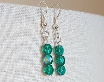 Emerald Glass Bead Earrings