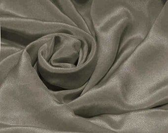 "Pure Natural Mulberry Silk Sample/ Yards/Meters Pure Silk Fabric Crepe De Chine 45"" wide 14momme ash gray color crepe-11-14mm"
