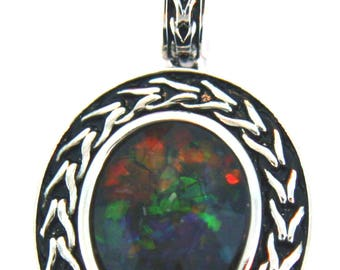 Oval Shaped  Canadian AAA Quality Ammolite Pendant set in  Sterling Silver.