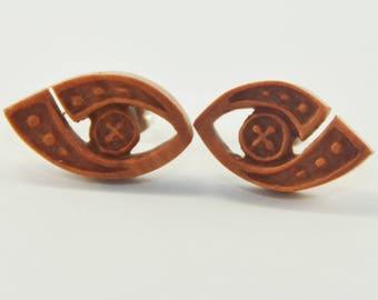 Deep Inside Stirrup Earrings Stud Loop Posts - Sabo Wood
