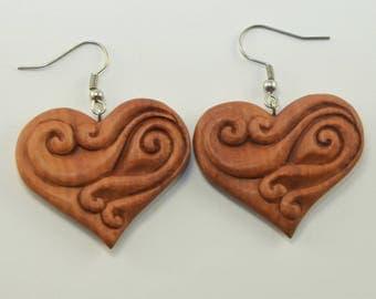 Nebula Heart Earrings Hooks, Dangling