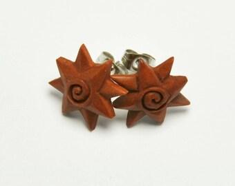 Windy Star Stirrup Earrings Stud Loop Posts - Sabo Wood