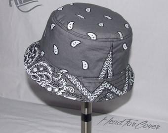 Handmade grey bandanna bucket hat.