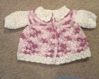 Hand crocheted white and variegated pink sweater