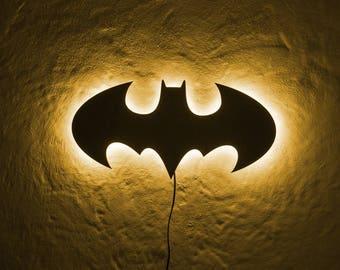 16 Color LED Batman Logo, Multi Color LED Batman Illuminated Metal wall logo cum Batman Logo Batman Lamp, Batcave Wall Decor with Dimmer