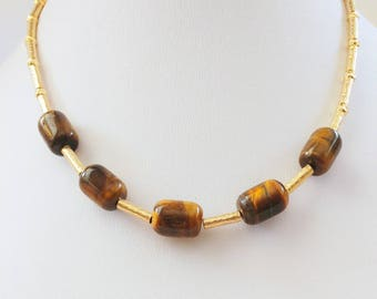 Tiger Eye beads , Gold-filled tubes and beads necklace. Barrel shaped beads.Short necklace.