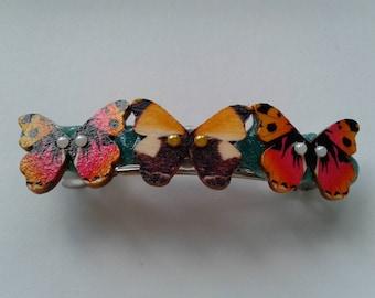 Rainbow colours butterfly barette