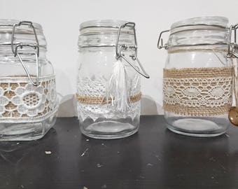 Set of 3 jars with spices (or other)
