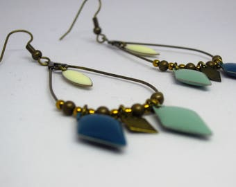 Handmade/gift women blue/white/dangling/diamond/shuttle/geometric/bronze/made drop earrings
