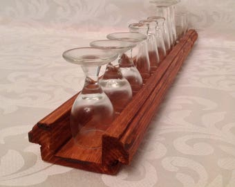 Real wood rustic wine shot glass flight assortment tray holder carrier great gift