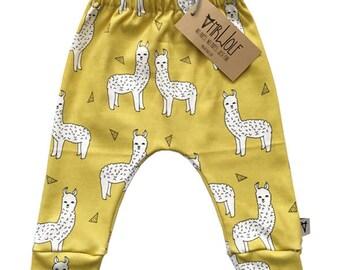 Baby Slouch Pant - Mustard Llama
