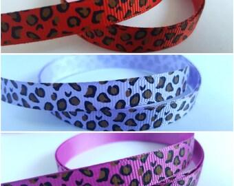 Leopard print ribbon, Leopard ribbon, Animal print ribbon, Printed ribbon, Grosgrain, Grosgrain ribbon, Leopard, Leopard print, Animal print