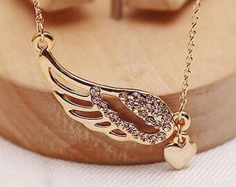 Angel Wings Love Heart Necklace