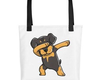 Funny Dabbing Rottweiler Tote bag, Cute Rottie Dog bag