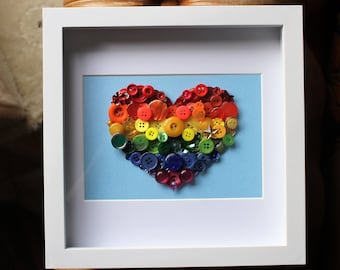 heart button art, Rainbow heart picture, heart picture, rainbow picture, gay pride art, valentines gift