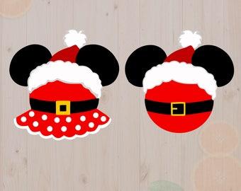Christmas Mickey Minnie Svg, Santa mickey Cut files, Christmas minnie DXF, Christmas disney svg for Cricut, Silhouette cameo, Christmas svg