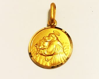"""14k solid yellow gold St.Anthony religious pendant(0.75""""inch)"""