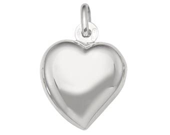 "18k solid white gold(1""inch)Italian puffed heart pendant"