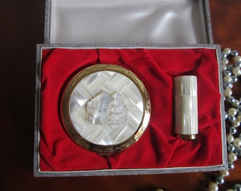 Mother of Pearl Compact and Lipstick Set in Box 1940's