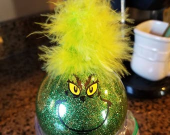 The grinch glitter Christmas ornament