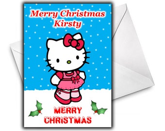 KELLY KITTY Personalised Christmas Card / Holiday Card / Personalized Card - Kids Christmas Cards - Kelly Kitty Personalized Christmas Card
