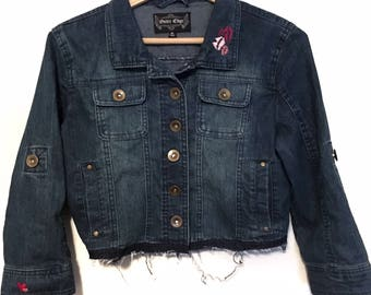 Kisses on Ya Collar // upcycled denim jacket with hand embroidered details