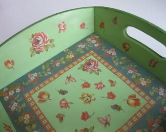Green Square tray with flowers