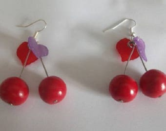 Earrings small cherry