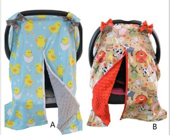 Soft Car seat Cover with bow nursing cover car seat canopy cover Infant car seat cover Baby shower gift