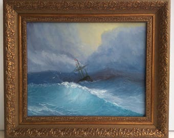 A free copy of Aivazovsky's painting A ship among the stormy seas