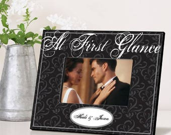 Personalized At First Glance Picture Frame - Personalized Wedding Photo Frame - Anniversary Picture Frame - Wedding Gift - Anniversary Gifts