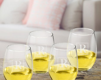 Personalized Initial Stemless Wine Glass Set - Personalized Wine Glasses - Stemless Wine Glasses - Personalized Wine Gifts - Wine Lovers