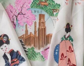 Vintage Souvenir Handkerchiefs// Hand painted handkerchiefs // Vintage Japanese Souvenir handkerchiefs // 1940s