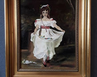 Original Vintage Oil Painting Of A Lovley Girl In A White Dress