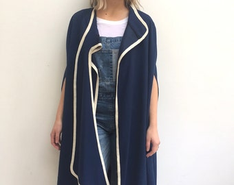 Vintage navy blue wrap over cape free size